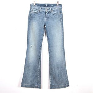 7 For All Mankind Dojo Distressed Flared Jeans 25 Light Blue